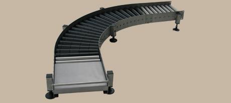 Gebinderollenbahnen (Fest/Friktion) 2 - Beispiel: Schwerkraftrollenbahn mit Kurve und Abnahmebereich, z.B. für Fasstransport