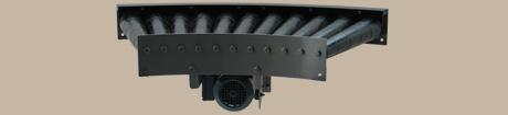 Gebinderollenbahnen (Fest/Friktion) 3 - Beispiel: Rollenbahnkurve 45° mit Antrieb und konischen Tragrollen